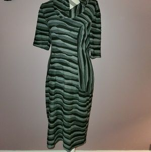 Connected Apparel Stripe Abstract Dress